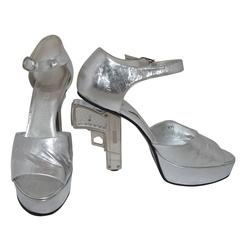 Chanel Resort 2009 Metallic Silver Miami Vice Gun Platform Heels