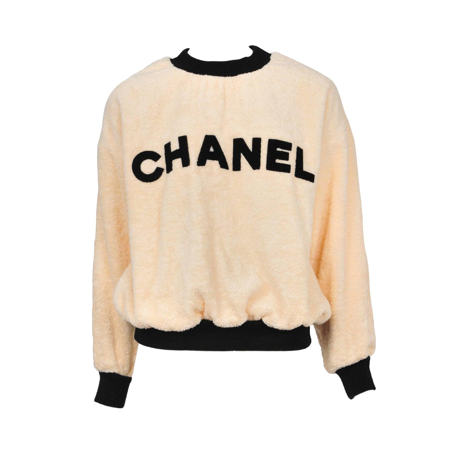 chanel peach terry cloth pullover at 1stdibs. Black Bedroom Furniture Sets. Home Design Ideas