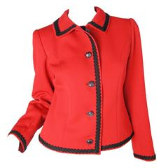 Yves Saint Laurent Red Jacket with Black Trim
