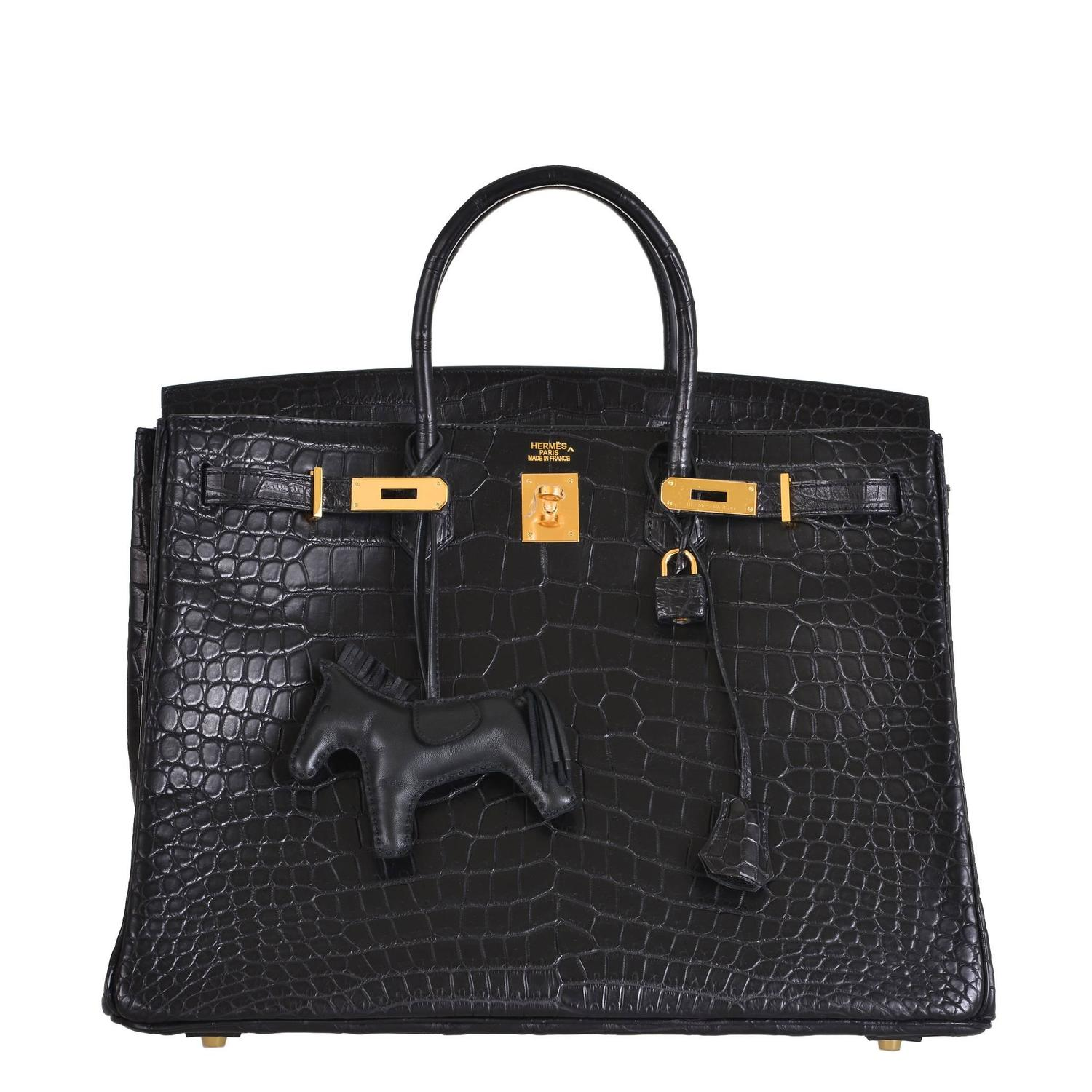 hermes birkin bag 40cm black matte crocodile porosus gold hardware janefinds