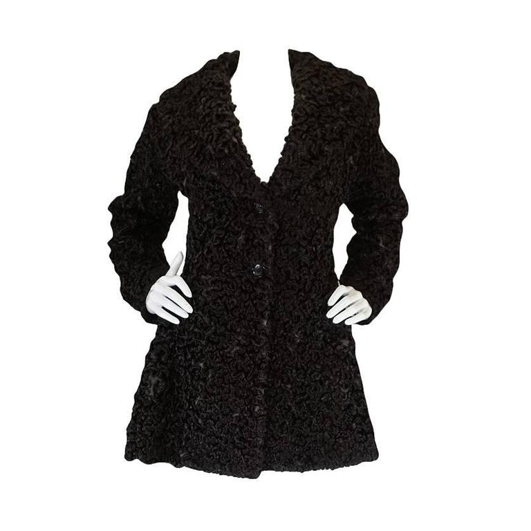 Important Fall 1991 Collection Alaia 'Astrakhan' Faux Fur Coat 1