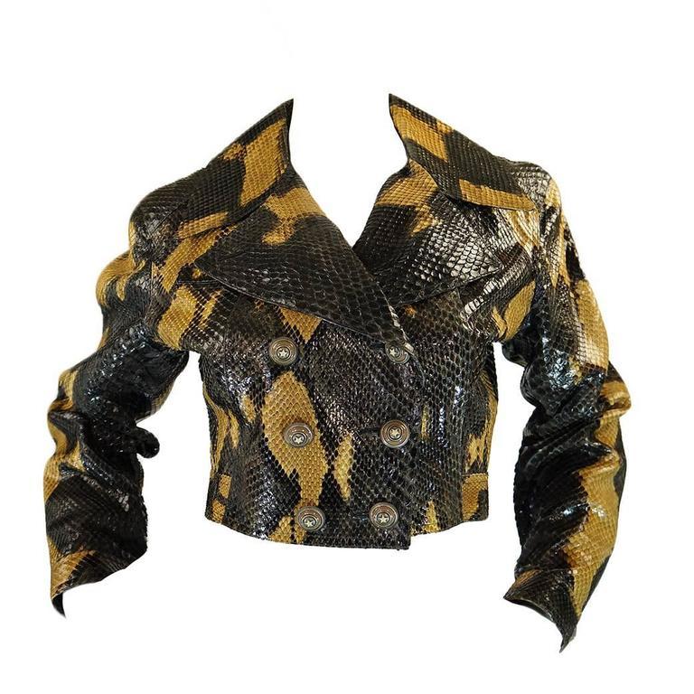 1991 Museum Held Alaia Exotic Python Skin Biker Jacket For Sale