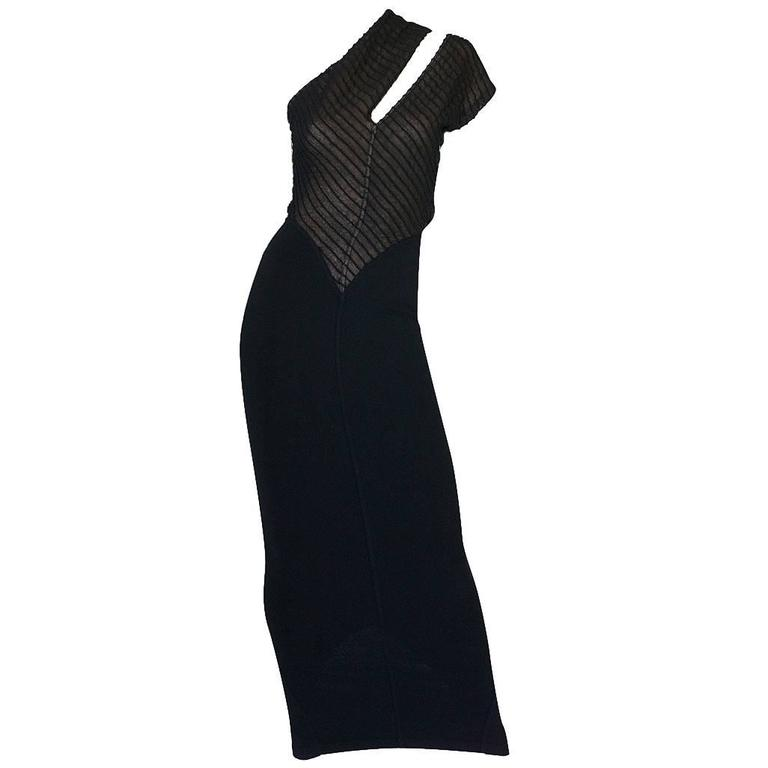 Important 1988-89 Azzedine Alaia Black One Shoulder Dress 1