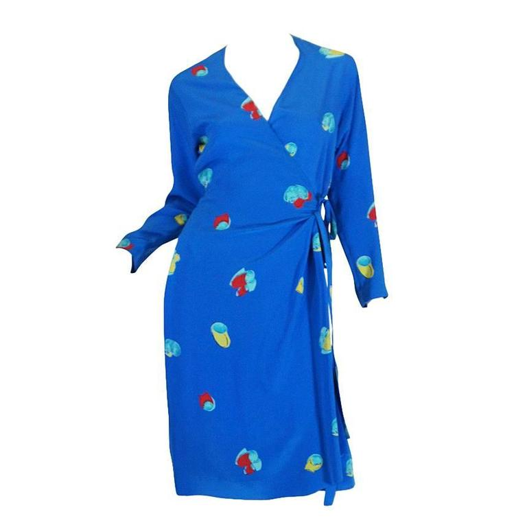 1977 Halston Pretty Blue Silk Print Wrap Dress