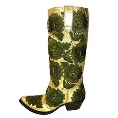 New GIANNI BARBATO WESTERN BULLHIDE LEATHER EMBROIDERED BOOTS