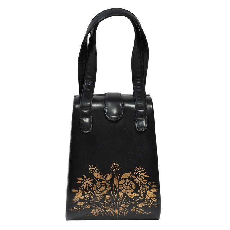 Black Box Handbag with Gold Flowers