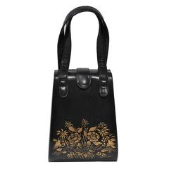 Black Box Handbag with Gold Flowers