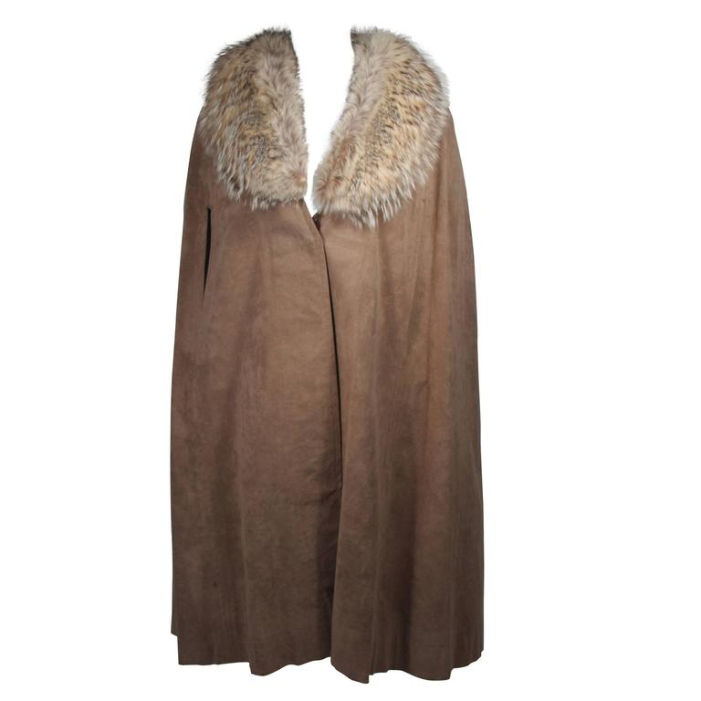 Nolan Miller Brown Suede Cloak with Fox Fur Collar  For Sale