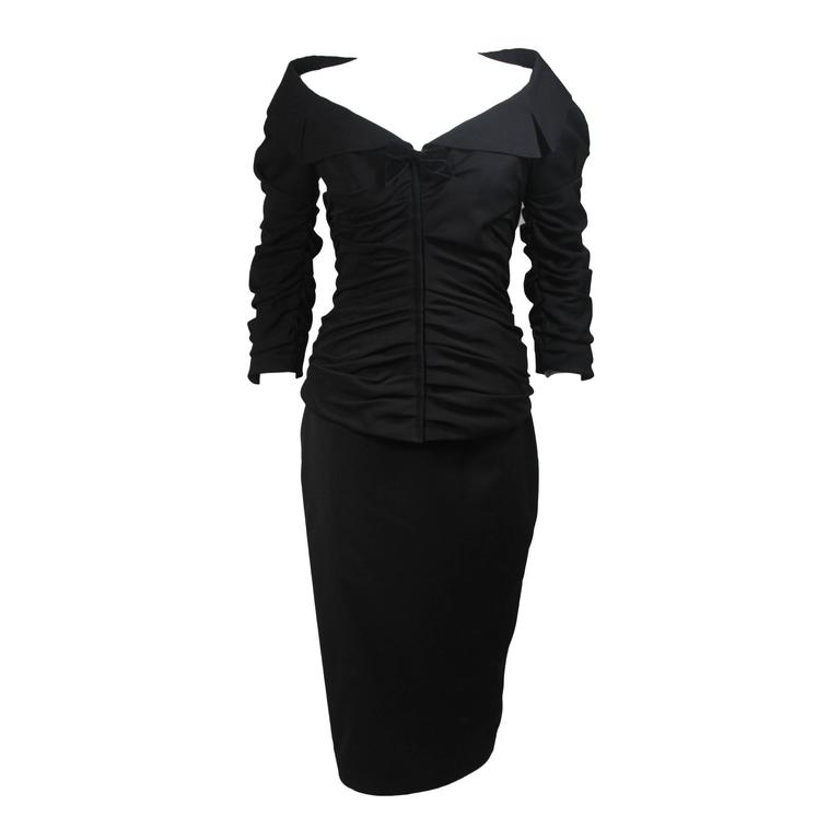 Thierry Mugler 1950's Style Black Ruched Skirt Suit Size 36