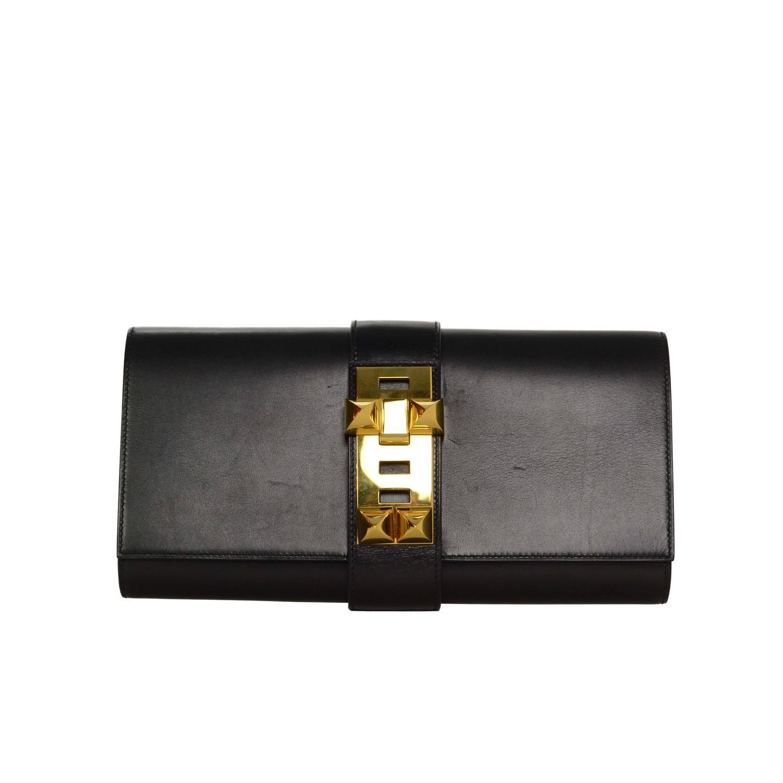 Hermes Black Box Leather 29cm Medor Clutch Bag GHW at 1stdibs