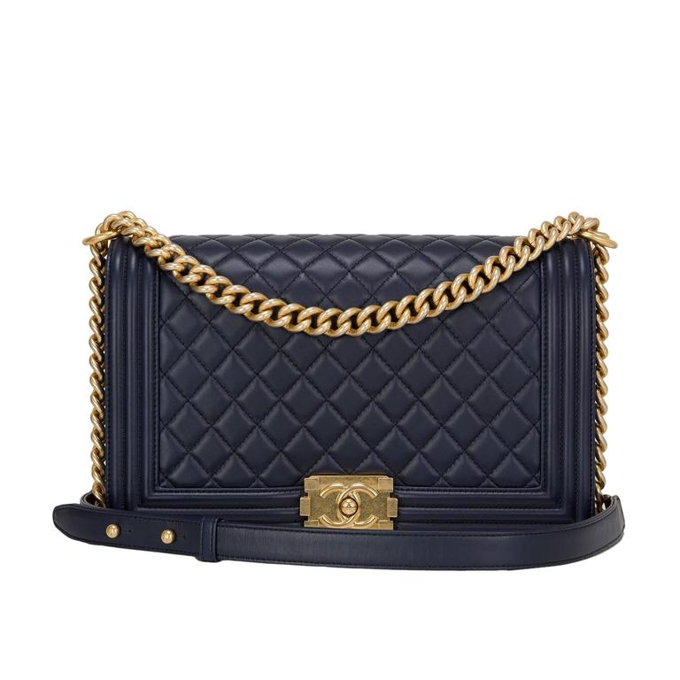 Chanel Navy Quilted Calfskin Medium Boy Bag For Sale