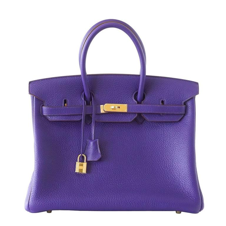 Hermes Birkin 35 Bag HSS Purple Iris Pink Bois de Rose Clemence Gold Hardware For Sale