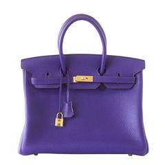Hermes Birkin 35 Bag HSS Purple Iris Pink Bois de Rose Clemence Gold Hardware
