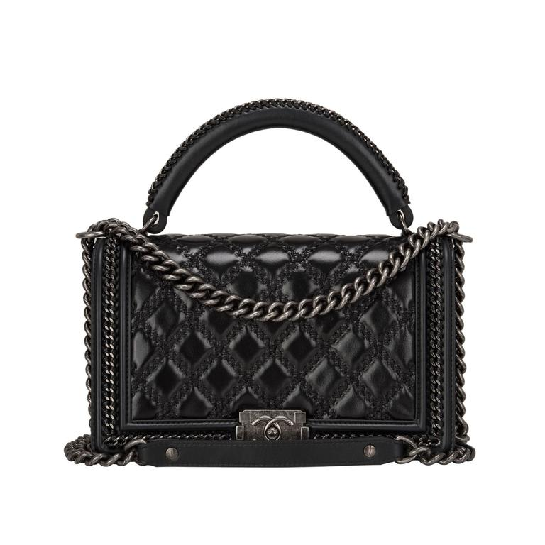 Chanel Black Quilted Shiny Goatskin New Medium Boy Bag With Top Handle For Sale