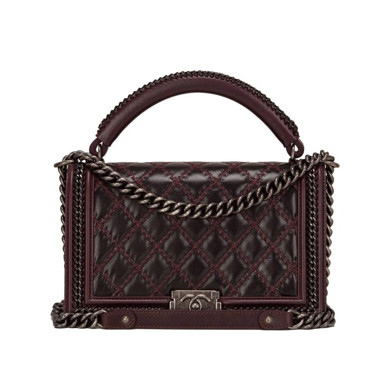 Chanel Burgundy Quilted Shiny Goatskin New Medium Boy Bag With Top Handle For Sale
