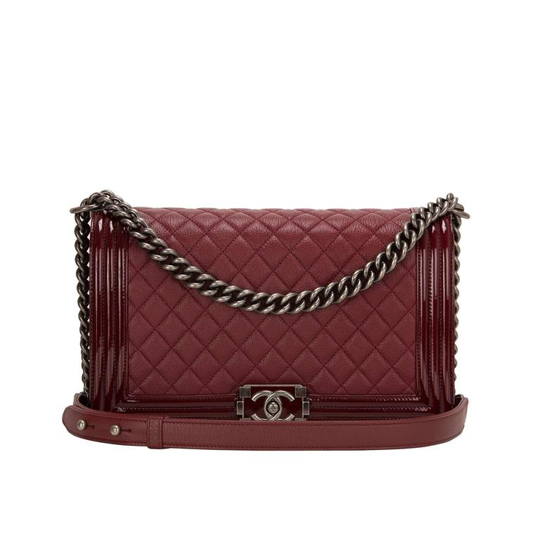 Chanel Burgundy Goatskin New Medium Boy Bag With Patent Trim For Sale