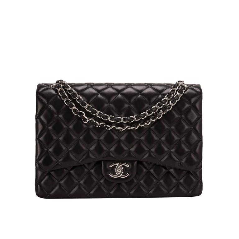 Chanel Black Quilted Lambskin Maxi Classic Double Flap Bag For Sale
