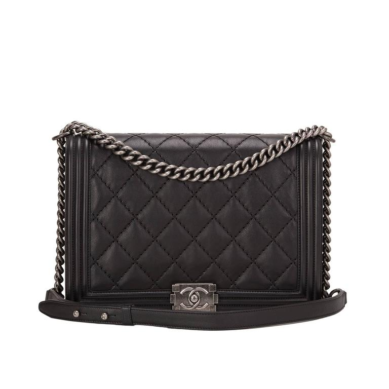 Chanel Pearlized Black Double Quilt Calfskin Large Boy Bag For Sale