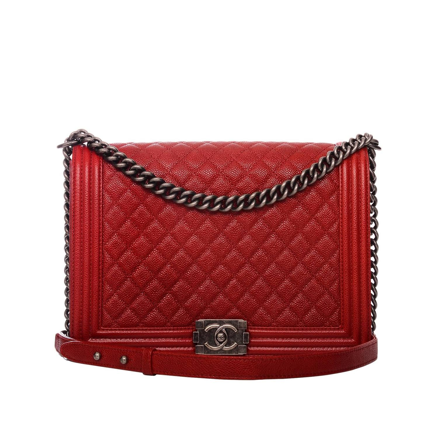 chanel dark red quilted caviar large boy bag at 1stdibs