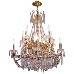 Lustrous 19th Century Ten-Light Large French Louis XV Multi-Crystal Chandelier