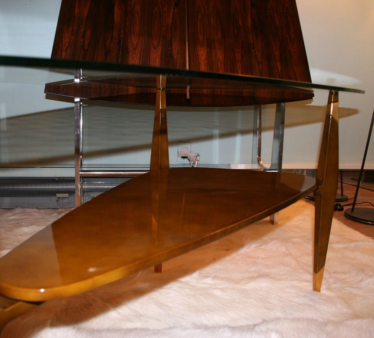 Bronze Raphael Triangular Coffee Table For Sale