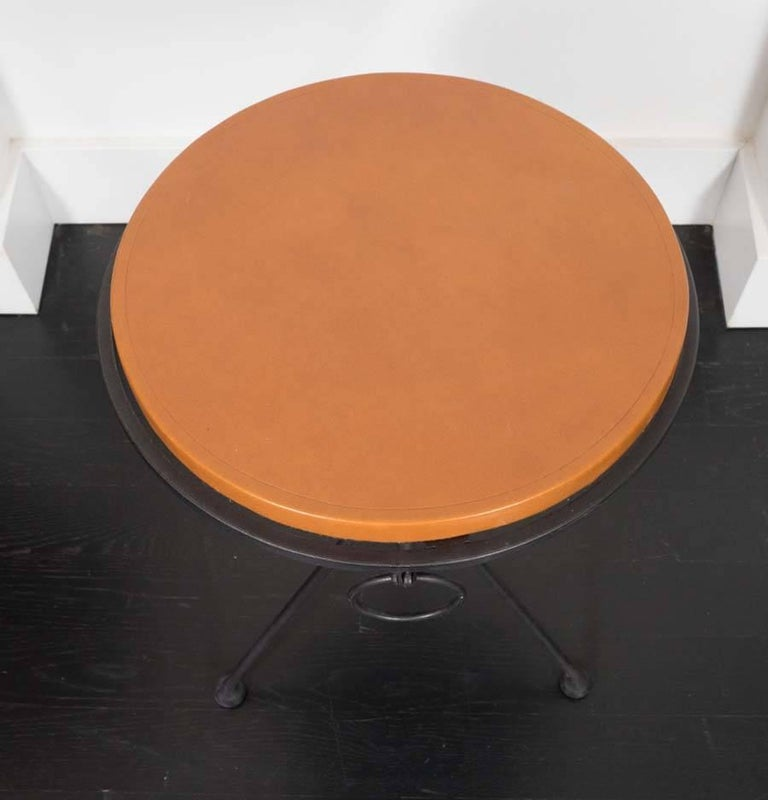Leather Pair of French Occasional Tables For Sale