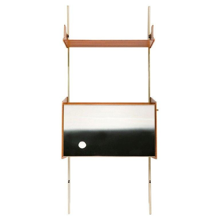 Italian Shelving System with Integrated Bar or Secretaire by Osvaldo Borsani For Sale