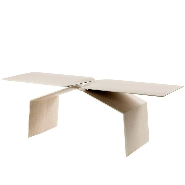 Carol Egan, Sculptural Hand-Carved Limed Oak Coffee Table, USA, 2015 In Excellent Condition For Sale In New York, NY