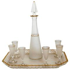 1900s Saint Louis Gold Enamel Crystal Liquor Set, Decanter Cordials and Tray