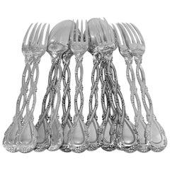 Odiot Tetard French Sterling Silver Dessert Entremet Set 12 Pc Trianon Pattern
