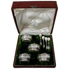 French Sterling Silver Gold 18k Set of 4 Salt Cellars Spoons Lily of the Valley