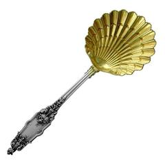 Puiforcat French All Sterling Silver 18K Gold Strawberry Spoon Acanthus
