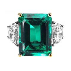 Magnificent  Faux Colombian Color 15 Carat Emerald Diamond Gold Ring