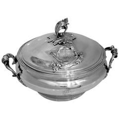 Soufflot Rare French Sterling Silver Covered Serving Dish/Tureen Rococo