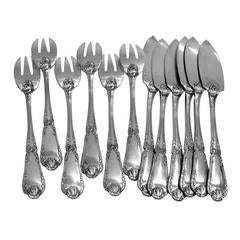 Puiforcat Rare French Sterling Silver Fish Flatware Set 12 pieces Pompadour