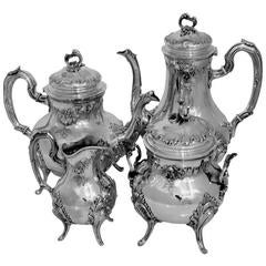 Fabulous French All Sterling Silver Tea and Coffee Service Four-Piece Rococo