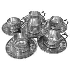 Compere Ornate French Sterling Silver Six Coffee Tea Cups with Saucers