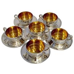 Ravinet Massive French Sterling Silver 18k Gold Six Tea Cups and Saucers