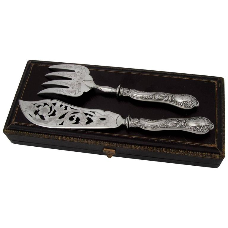 Bonnescoeur French Sterling Silver Fish Servers Two Pieces Box, Rococo