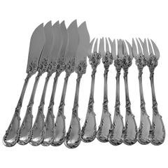 Fouquet-Lapar French All Sterling Silver Fish Flatware Set of 12 Pieces, Rococo