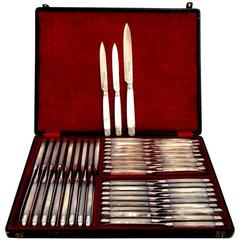 Piault French Sterling Silver Mother-of-Pearl Table Knife Set of 54 Pieces Box