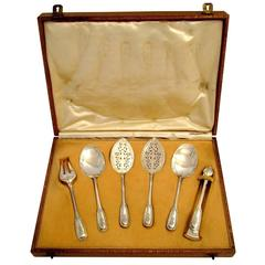 Puiforcat French Sterling Silver Dessert Hors D'oeuvre Set Six Pieces with Box