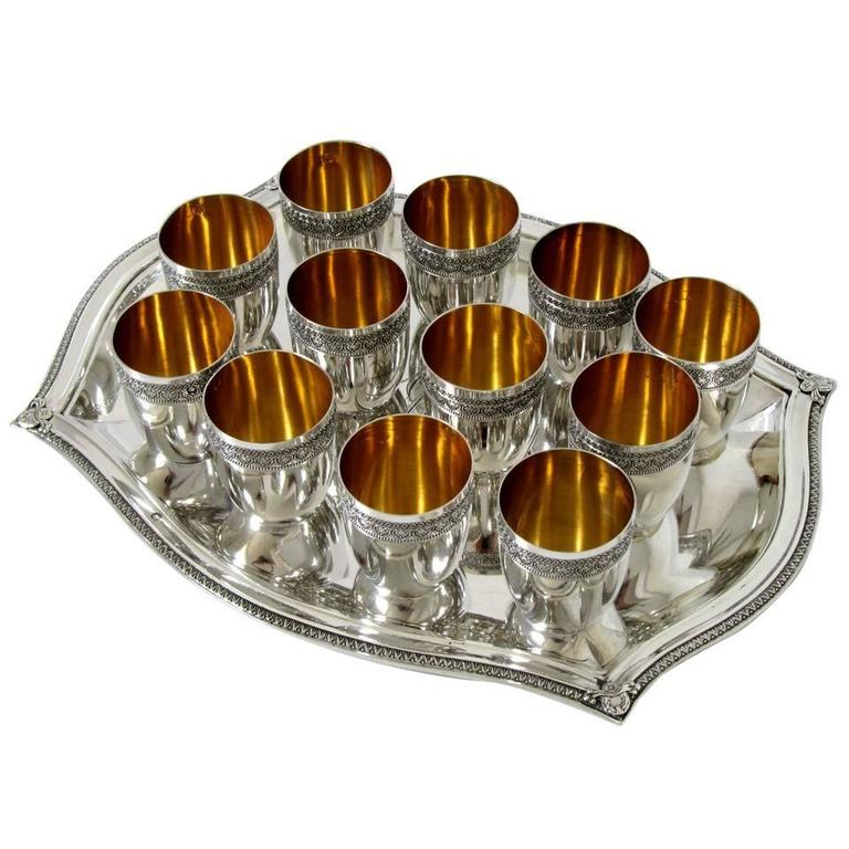 French Sterling Silver 18-Karat Gold Liquor Cups, Original Tray and Box Empire