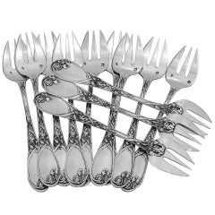 Puiforcat Fabulous French All Sterling Silver Oyster Forks Set of 12 Pieces Iris