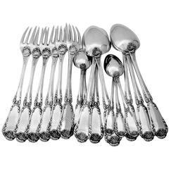 Puiforcat Antique French Sterling Silver Dinner Flatware 18 Pieces Pompadour