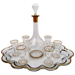 1870s Antique French Gold Enamel Crystal Baccarat Liquor or Aperitif Service