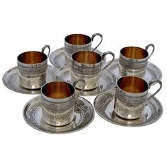Molle French Sterling Silver 18-Karat Gold Six Coffee Tea Cups Imperial Eagles