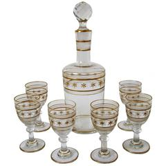 Saint Louis Antique French Crystal Gilded Liquor or Aperitif Serving Set