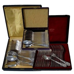 Puiforcat Fabulous French Sterling Silver Flatware Set of 60 Pieces Rococo