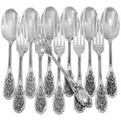 Puiforcat Rare French Sterling Silver Dinner Flatware Set of 12 Pieces Moderne